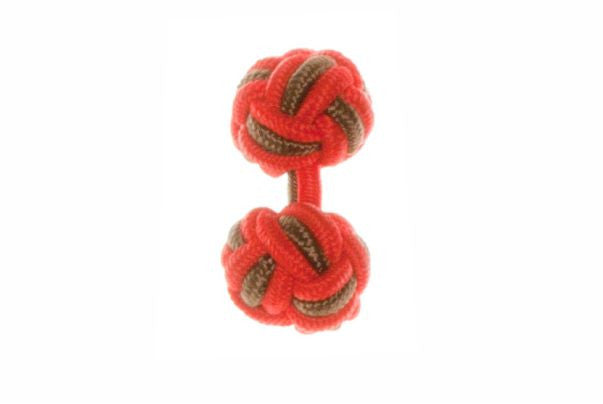 Red & Brown Cuffknots Silk Knot Cufflinks - by Elizabeth Parker England