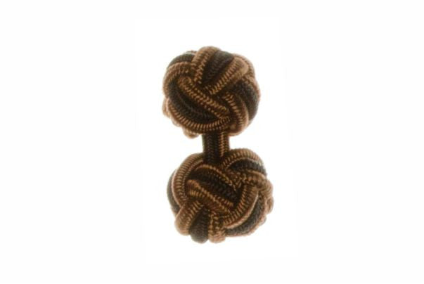 Brown & Black Cuffknots Silk Knot Cufflinks - by Elizabeth Parker England