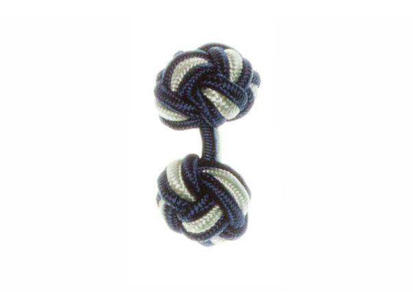 Navy Blue & Light Green Cuffknots Silk Knot Cufflinks - by Elizabeth Parker England