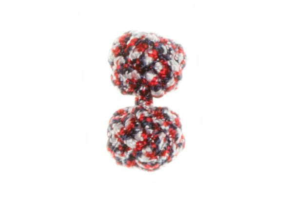 Red, White & Blue Twisty Cuffknots Knot Cufflinks - by Elizabeth Parker England