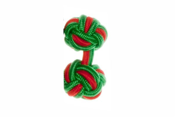 Emerald Green & Red Cuffknots Silk Knot Cufflinks - by Elizabeth Parker England