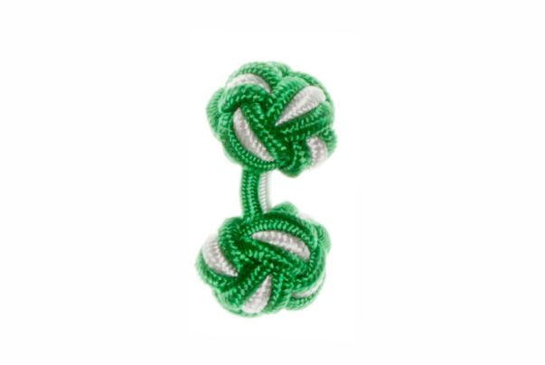 Emerald Green & White Cuffknots Knot Cufflinks - by Elizabeth Parker England