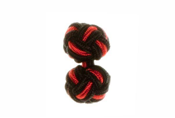 Black & Red Cuffknots Silk Knot Cufflinks - by Elizabeth Parker England