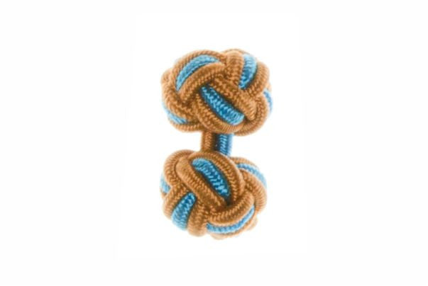Whiskey Brown & Electric Blue Cuffknots Knot Cufflinks - by Elizabeth Parker England