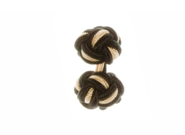 Black & Yellow Cuffknots Silk Knot Cufflinks - by Elizabeth Parker England