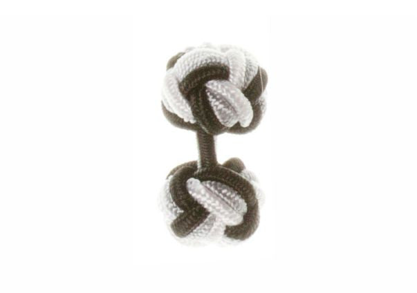 Black & Grey & White Cuffknots Silk Knot Cufflinks - by Elizabeth Parker England