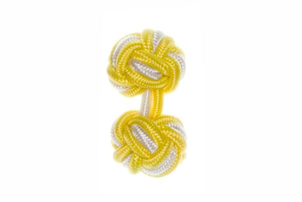 Canary Yellow & White Cuffknots Silk Knot Cufflinks - by Elizabeth Parker England