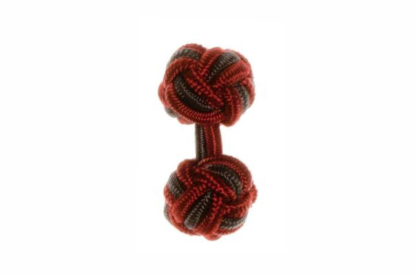 Claret Deep Red & Graphite Grey Cuffknots Silk Knot Cufflinks - by Elizabeth Parker England