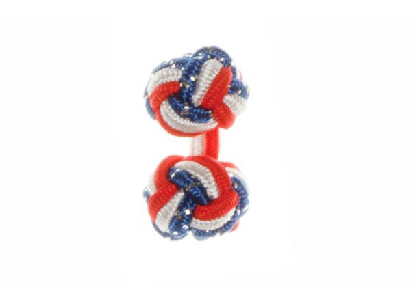 Red & White & Royal Blue Fleck British Flag Cuffknots Silk Knot Cufflinks - by Elizabeth Parker England