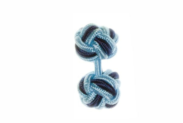 Light Blue & Navy Blue Cuffknots Silk Knot Cufflinks - by Elizabeth Parker England