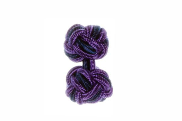 Purple & Navy Blue Cuffknots Silk Knot Cufflinks - by Elizabeth Parker England
