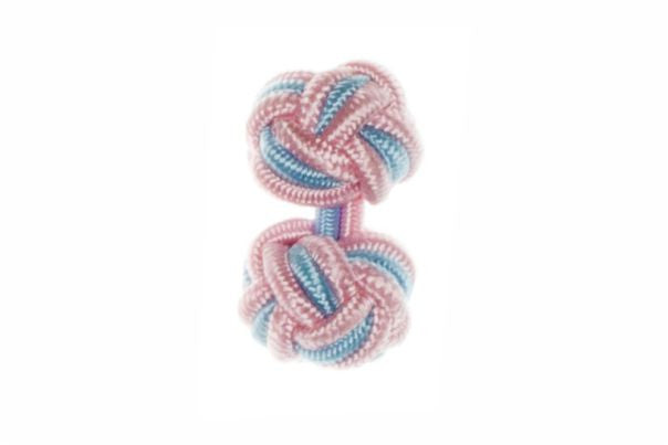 Pink & Light Blue Cuffknots Silk Knot Cufflinks - by Elizabeth Parker England