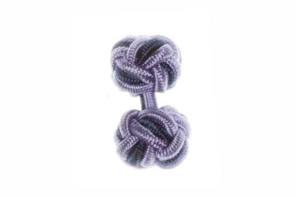 Lilac & Navy Blue Cuffknots Knot Cufflinks - by Elizabeth Parker England