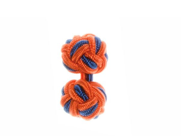 Tango Orange & Royal Blue Cuffknots Silk Knot Cufflinks - by Elizabeth Parker England