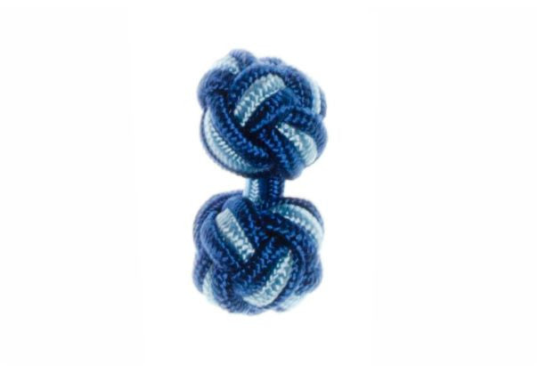 Royal Blue & Light Blue Cuffknots Silk Knot Cufflinks - by Elizabeth Parker England