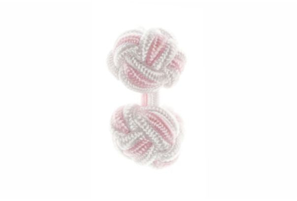 White & Pink Cuffknots Knot Cufflinks - by Elizabeth Parker England