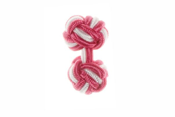 Fuchsia Pink & White Cuffknots Knot Cufflinks - by Elizabeth Parker England