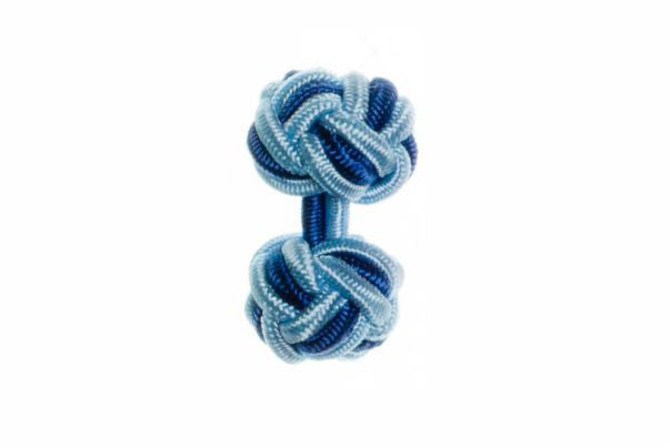 Light Blue & Royal Blue Cuffknots Silk Knot Cufflinks - by Elizabeth Parker England