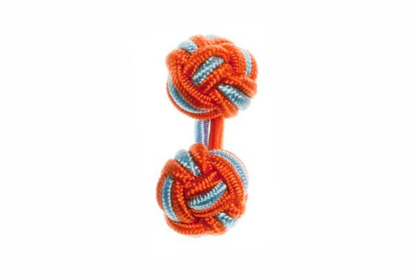 Tango Orange & Light Blue Cuffknots Silk Knot Cufflinks - by Elizabeth Parker England