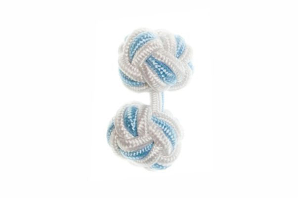 White & Light Blue Cuffknots Silk Knot Cufflinks - by Elizabeth Parker England