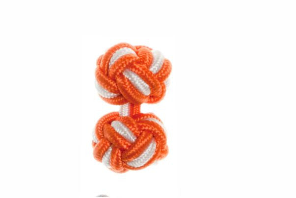 Tango Orange & White Cuffknots Silk Knot Cufflinks - by Elizabeth Parker England