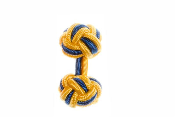 Buttercup Yellow & Royal Blue Cuffknots Silk Knot Cufflinks - by Elizabeth Parker England
