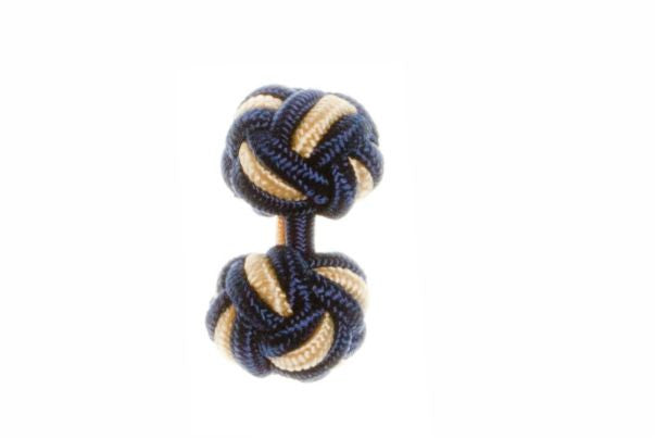 Navy Blue & Buttercup Yellow Cuffknots Silk Knot Cufflinks - by Elizabeth Parker England