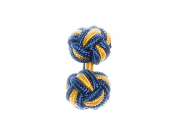Royal Blue & Buttercup Yellow Cuffknots Silk Knot Cufflinks - by Elizabeth Parker England