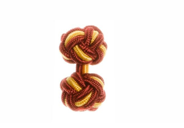 Claret Deep Red & Buttercup Yellow Cuffknots Silk Knot Cufflinks - by Elizabeth Parker England