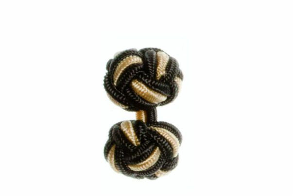 Graphite Grey & Yellow Cuffknots Silk Knot Cufflinks - by Elizabeth Parker England