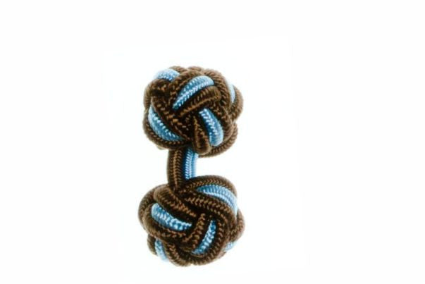 Mocha Brown & Light Blue Cuffknots Silk Knot Cufflinks - by Elizabeth Parker England
