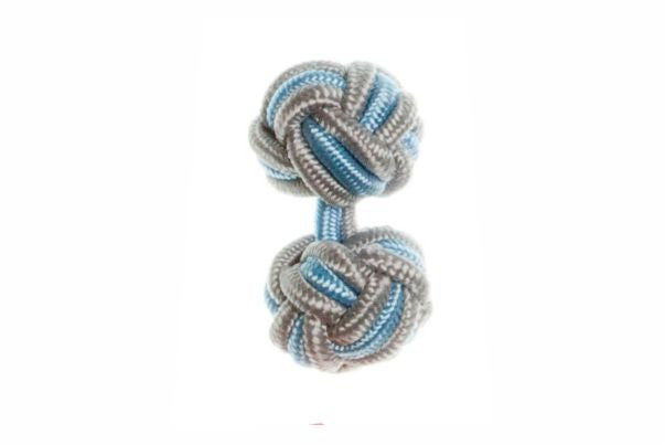 Grey & Light Blue Cuffknots Silk Knot Cufflinks - by Elizabeth Parker England
