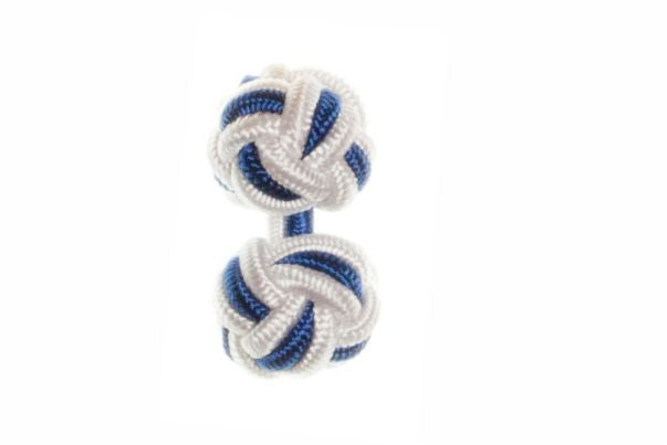 White & Royal Blue Cuffknots Knot Cufflinks - by Elizabeth Parker England