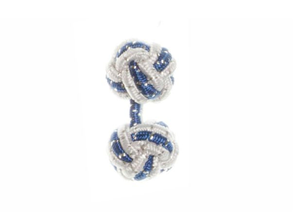 White & Royal Blue Sparkle Cuffknots Silk Knot Cufflinks - by Elizabeth Parker England