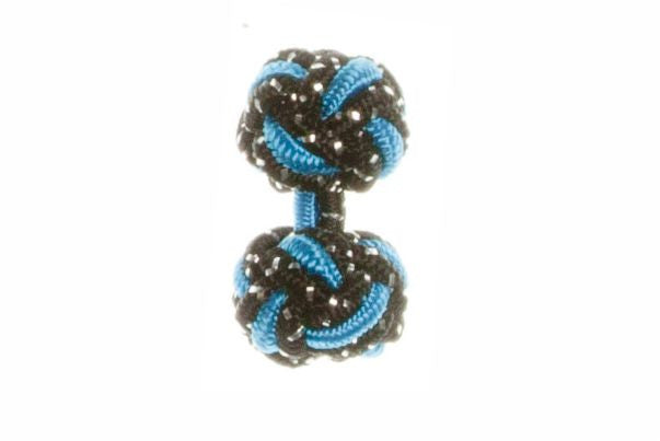 Black Sparkle & Electric Blue Cuffknots Knot Cufflinks - by Elizabeth Parker England