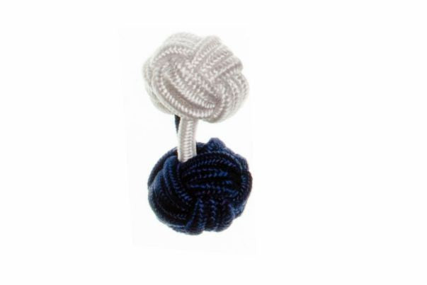 Navy Blue & White Different Colour Ends Cuffknots Silk Knot Cufflinks - by Elizabeth Parker England