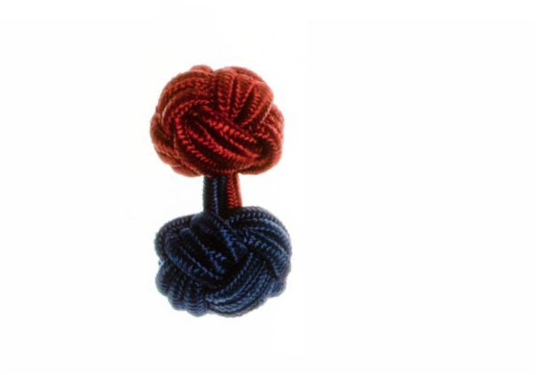 Navy Blue & Claret Deep Red Different Colour Ends Cuffknots Silk Knot Cufflinks - by Elizabeth Parker England