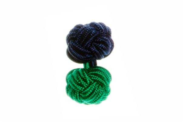 Navy Blue & Green Different Colour Ends Cuffknots Silk Knot Cufflinks - by Elizabeth Parker England
