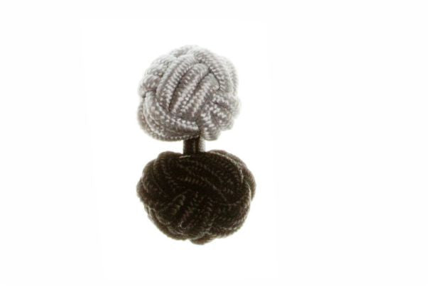 Black & Grey Different Colour Ends Cuffknots Silk Knot Cufflinks - by Elizabeth Parker England