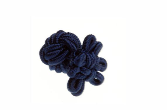 Navy Blue Flower Shaped Cuffknots Silk Knot Cufflinks - by Elizabeth Parker England