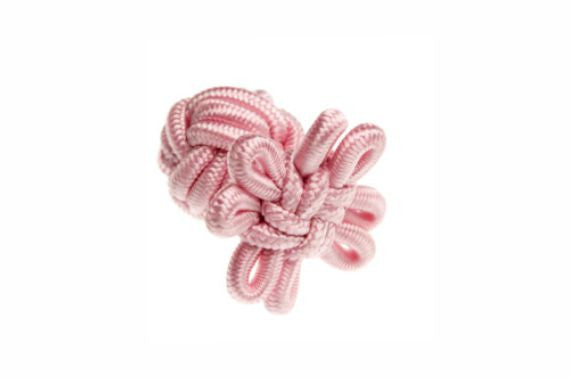 Pink Flower Shaped Cuffknots Knot Cufflinks - by Elizabeth Parker England