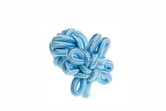 Light Blue Flower Shaped Cuffknots Silk Knot Cufflinks - by Elizabeth Parker England