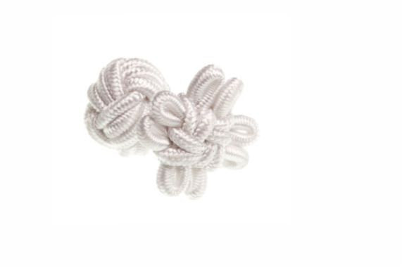 White Flower Shaped Cuffknots Silk Knot Cufflinks - by Elizabeth Parker England