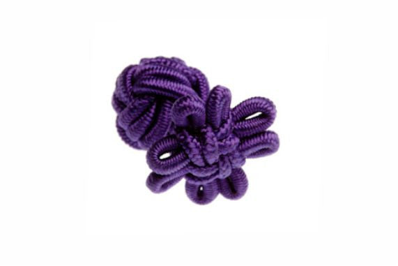 Purple Flower Shaped Cuffknots Silk Knot Cufflinks - by Elizabeth Parker England