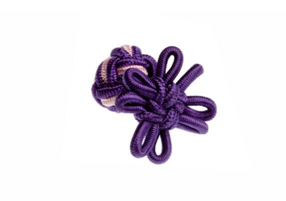 Purple & Pink Flower Shaped Cuffknots Silk Knot Cufflinks - by Elizabeth Parker England