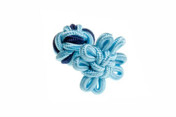 Light Blue & Navy Blue Flower Shaped Cuffknots Silk Knot Cufflinks - by Elizabeth Parker England