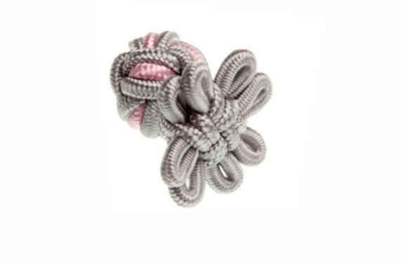 Grey & Pink Flower Shaped Cuffknots Silk Knot Cufflinks - by Elizabeth Parker England