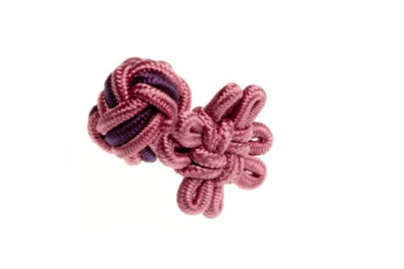 Candy Pink & Aubergine Purple Flower Shaped Cuffknots Silk Knot Cufflinks - by Elizabeth Parker England