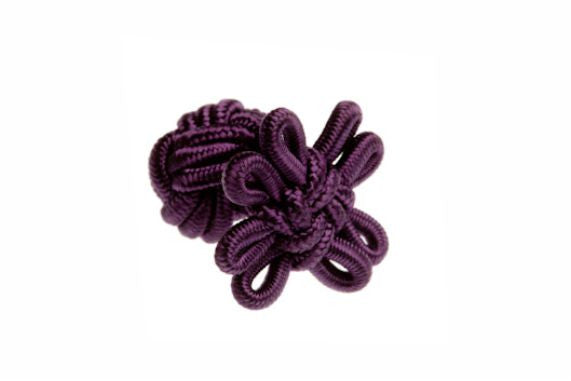 Aubergine Purple Flower Shaped Cuffknots Silk Knot Cufflinks - by Elizabeth Parker England