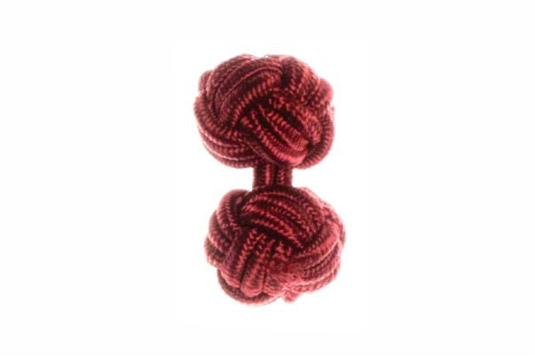 Burgundy Red Cuffknots Knot Cufflinks - by Elizabeth Parker England
